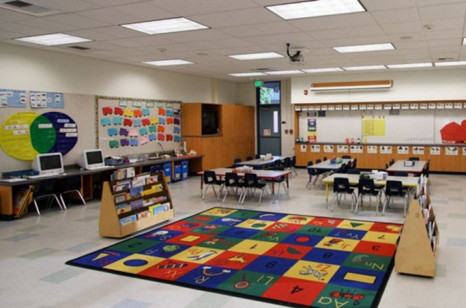Elementary School Classroom Floor Plan Desk Chairs And Multi